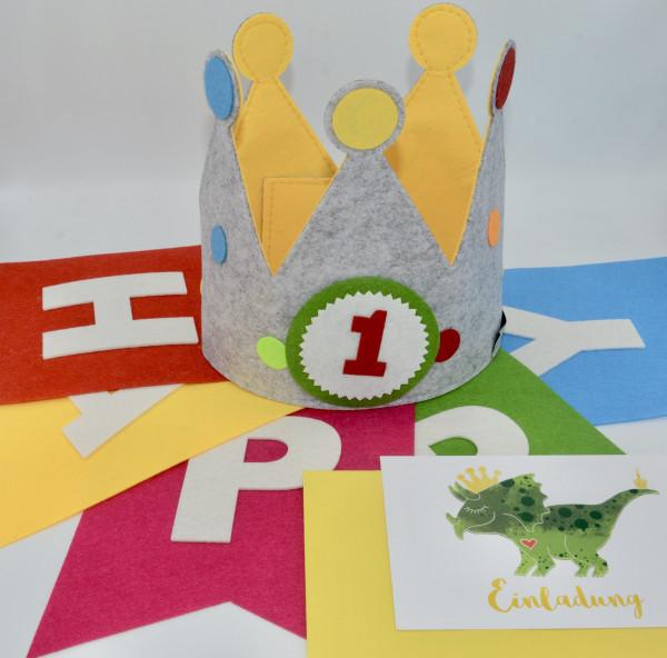 Geburtstagskrone Gelb mit Dino Einladungskarte und Geburtstagsgirlande